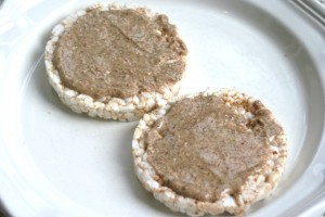 almond butter on rice cakes